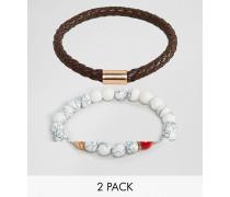 2er-Set Armbänder mit Kunstleder und weißen Perlen