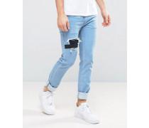 Schmal geschnittene Stretch-Jeans mit elastischen Einsätzen