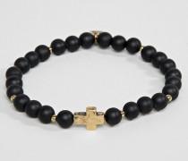 Perlenarmband mit goldenem Kreuz-Anhänger