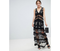 tiered maxi dress with lace detail in black