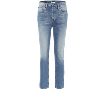 High-Rise Ankle Crop Straight Jeans
