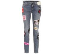 Verzierte Low-Rise Jeans