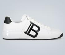 Leder-Sneakers mit Logo