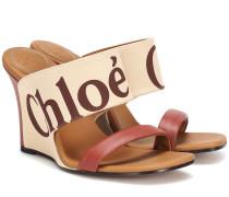 Wedge-Sandalen mit Lederanteil