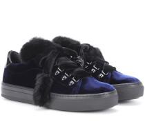 Sneakers aus Samt mit Nerz