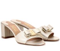 Sandalen Vara Bow aus Metallic-Leder