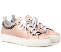 Sneakers aus Satin mit Kristallen