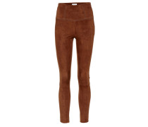 Cropped-Leggings aus Veloursleder