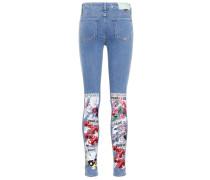 Bedruckte Skinny Jeans aus Stretch Denim