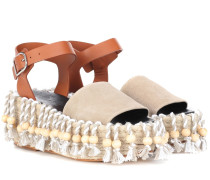 X Paula's Ibiza Espadrille-Sandalen aus Leder