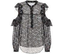 Bedruckte Bluse Cora aus Seide mit Cut-outs