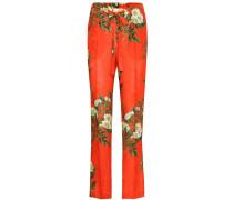 Hose aus Jacquard mit Blumenprint