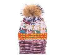 Mütze mit Cashmereanteil und Pelz