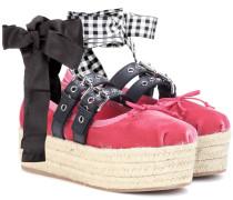 Plateau-Ballerinas aus Samt