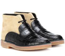 Loafer-Boots mit Leder
