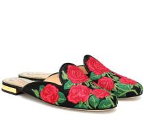Bestickte Slippers aus Canvas