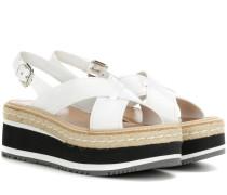 Plateau-Sandalen aus Leder