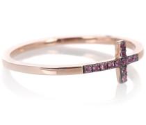 Ring Cross aus 14kt Roségold mit Saphiren