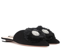 Slippers Crystal Lotus aus Veloursleder