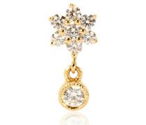 Einzelner Ohrring Diamond Flower Traditional aus 18kt Gold
