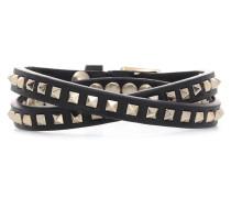 Doppeltes Armband Rockstud aus Leder