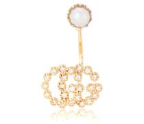 Einzelner Ohrring Running G Single Diamond Pearl aus 18kt Gelbgold und einer weißen Perle