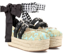 Plateau-Ballerinas aus Brokat