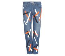 Verzierte Cropped Jeans aus Denim