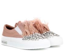 Verzierte Sneakers aus Satin