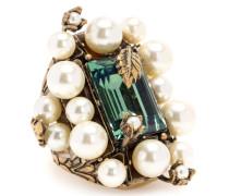 Ring mit Kristallstein und Perlen