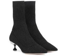 Ankle Boots mit Metallic-Fäden