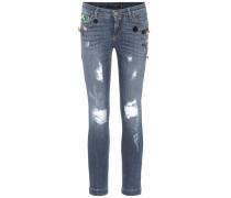 Distressed-Jeans mit Verzierungen