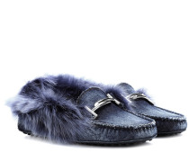 Loafers Gommino aus Denim mit Fell