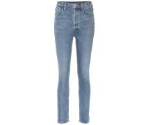 High-Rise Slim Straight Jeans