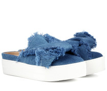 Plateau-Slippers Skater Slides aus Denim