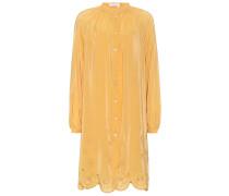 Besticktes Kleid mit Seidenanteil