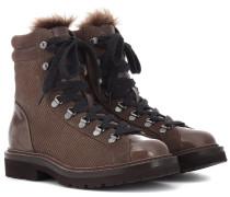 Ankle Boots aus Leder mit Shearling