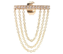 Ohrring Pave Triple Hanging Chain aus 14kt Gelbgold