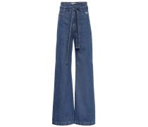 Jeans mit weitem Bein aus Baumwolle