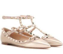 Ballerinas Rockstud aus Metallic-Leder
