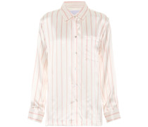 Gestreifte Pyjama-Bluse aus Seide