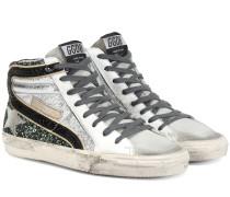 Sneakers aus Leder mit Glitter