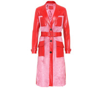 Mantel aus Leder und Pelz