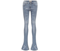 High-Rise Skinny Jeans mit Schlag