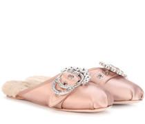 Ballerinas mit Fell und Verzierungen