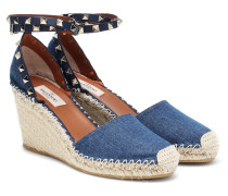 Wedge-Sandalen Rockstud aus Denim