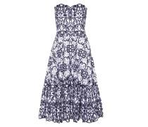 Schulterfreies Kleid mit Lochstickerei
