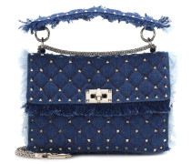 Schultertasche Rockstud Spike Medium aus Denim