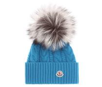 Mütze aus Wolle und Cashmere mit Fuchspelz
