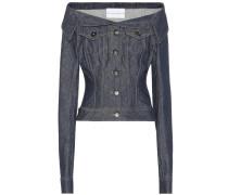 Schulterfreie Jeansjacke aus Baumwolle